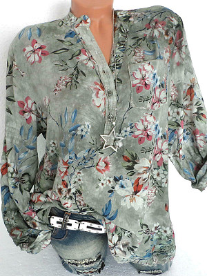 V Neck Button Floral Printed Blouse, 10637516