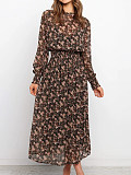 Image of Long-Sleeved Printed Waisted Up Dress