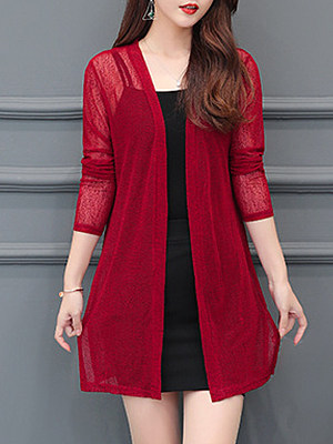 See-Through Plain Long Sleeve Cardigan, 11368418