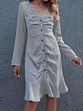 Image of Check Slim Long Skirt Dress