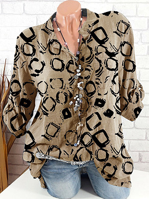 V Neck Loose Fitting Printed Long Sleeve Blouse, 24772217