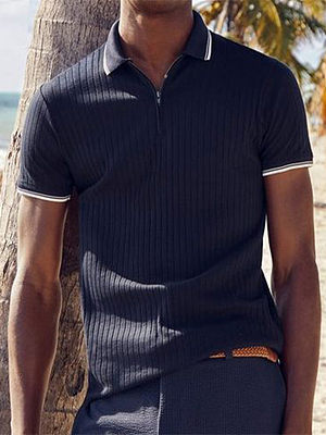 Striped casual polo shirt, 27524203, BERRYLOOK  - buy with discount