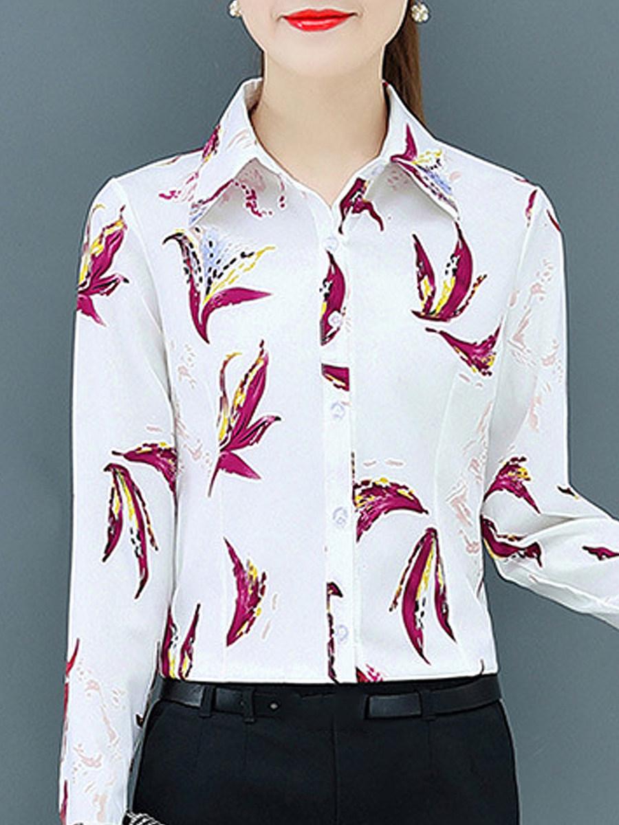 BerryLook Turn Down Collar Printed Long Sleeve Blouse