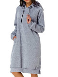 Image of Hat Collar Plain Long Sleeve Dress