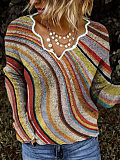 Image of Knitted long-sleeved striped shirt and top