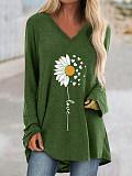 Image of V Neck Flower Print Long Sleeve T-shirt