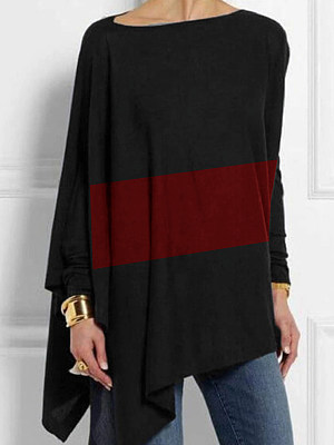 Round Neck Color Block Loose Fitting Long Sleeve T-Shirt, 11240438