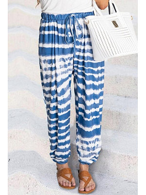 Coloring Striped Long Casual Pants фото