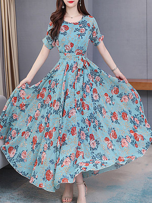 Flower Print Big Skirt Maxi Dress