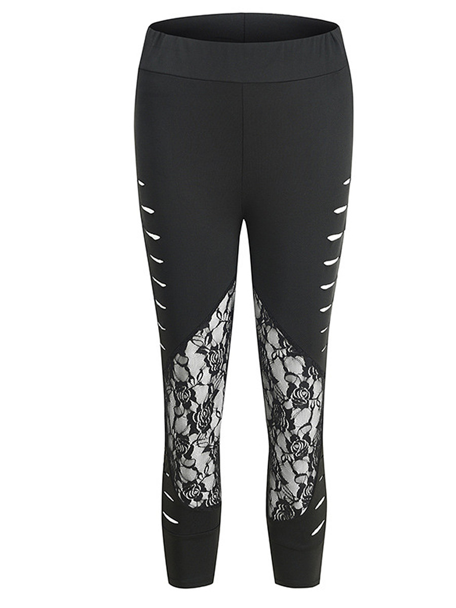 Sexy cutout lace stitching leggings
