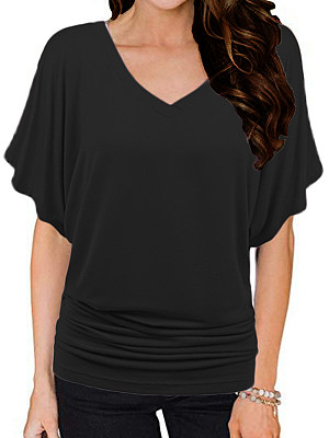 V Neck Plain Batwing Sleeve T-shirt, 11417729