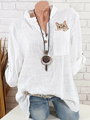 V Neck Cat Printed Blouse, 10762523