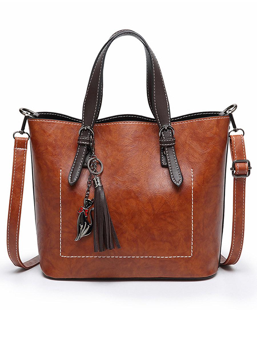 Oil Wax Leather Tassel Shoulder Bag