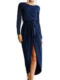 Image of Round Neck Loose Long Sleeve Irregular Dress