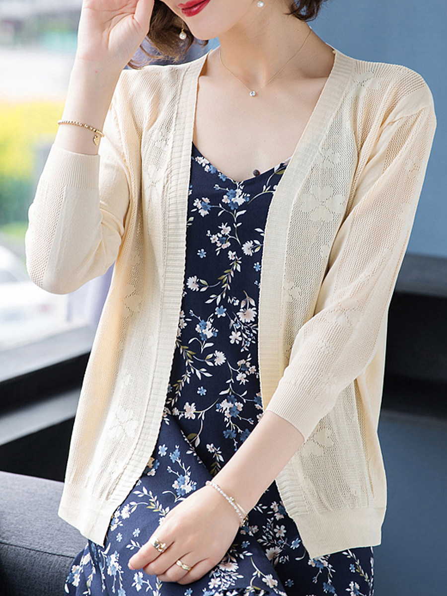 Plain Long Sleeve Knit Cardigan