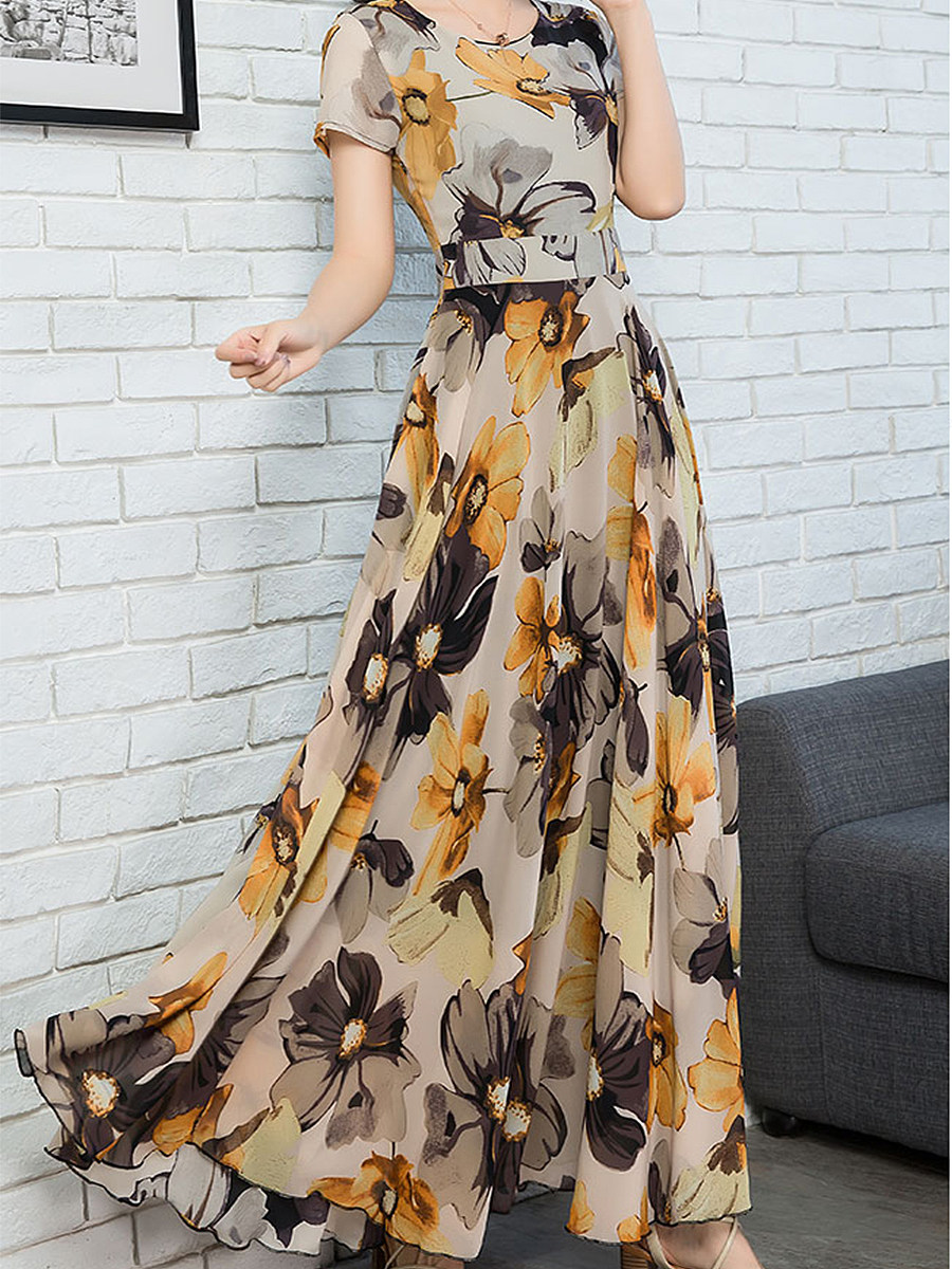 Oversized Waist Chiffon Print Maxi Dress