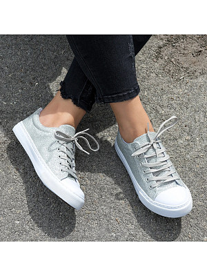 Women Sequin Round Toe Casual Lace-up Sneakers, 11020609