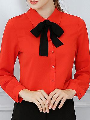 Turn Down Collar Plain Long Sleeve Blouse, 11168070