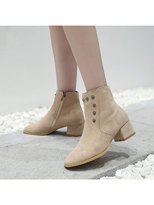 Women's Casual Solid Color Square Toe Block Heel Martin Boots, 11001880