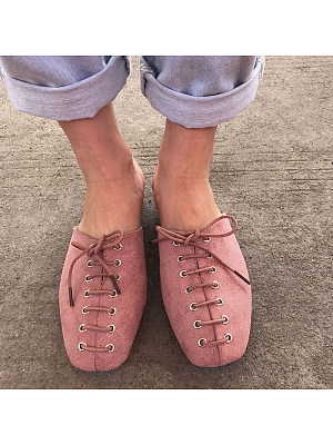 Fashion Women Square Toe Lace-up Open Heel Flats, 10712285