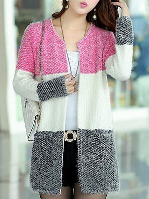 Round Neck Medium Elegant Long Sleeve Knit Cardigan sweater, 10215935