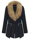 Image of Woolen women's coat and fur collar mid-length woolen coat