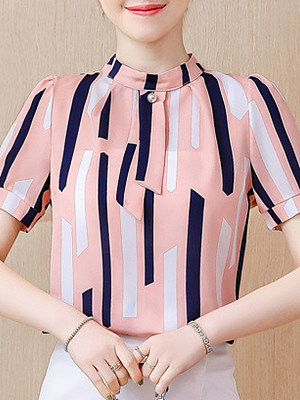Band Collar Striped Short Sleeve Blouse, 11293433