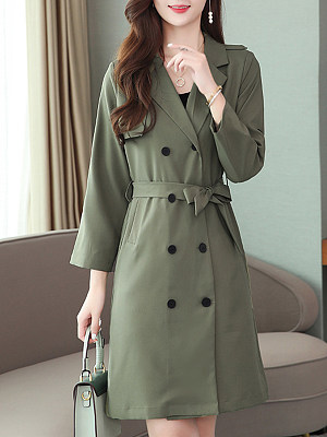 Women's fashion mid-length trench coat gender:female, season:autumn,spring, texture:polyester, sleeve_length:long sleeve, sleeve_type:regular sleeve, style:leisure, collar_type:fold collar, design:double breasted, dress_occasion:daily, bust:116,clothing length:101,shoulder width:42,