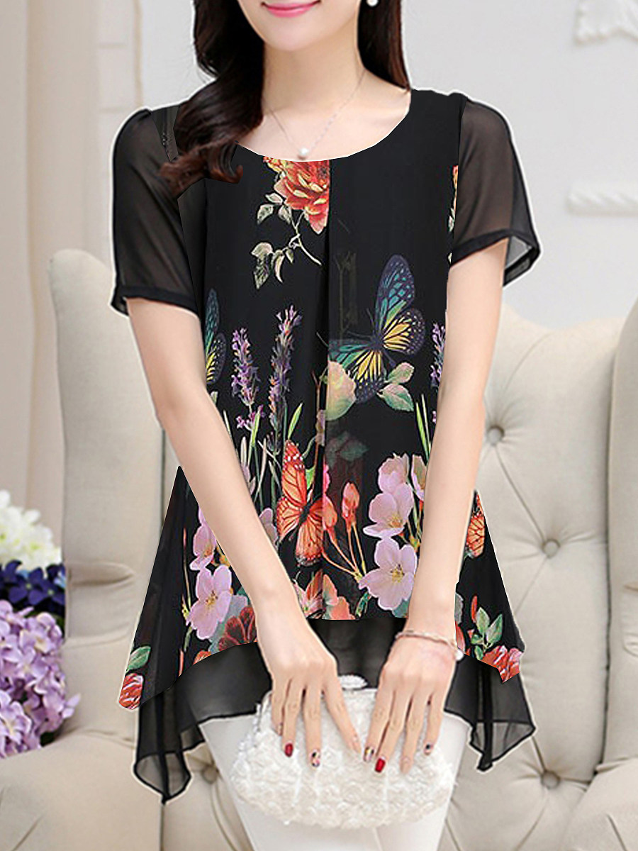 BerryLook Round Neck Fake-two-piece Floral Print Short Sleeve Blouse