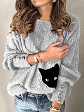 Image of Button cat print casual crew neck sweater