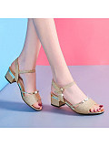 Women's Fashion Solid Color Openwork Buckle Sandals