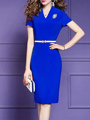 V-Neck Plain Bodycon Dress, 11327292