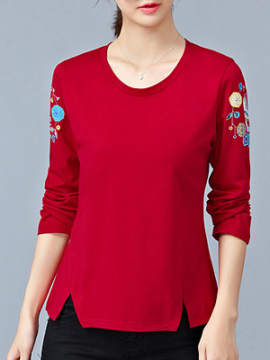 Roud Neck Patchwork Plain Long Sleeve T-Shirt, 10523632