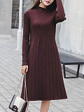 Image of Round Neck Long Sleeve Solid Color Knitted Dress
