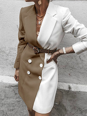 Fashion stitching contrast double-breasted blazer
