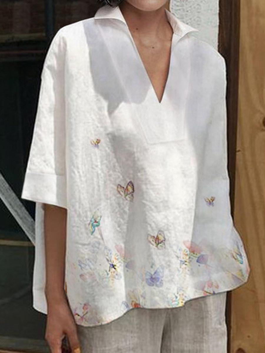 BerryLook Turn Down Collar Print Short Sleeve Blouse