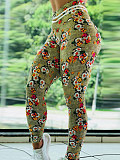 Image of Fashion floral casual high waist sports leggings