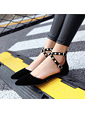 Women's fashion pointed suede solid color pearl low heel sandals
