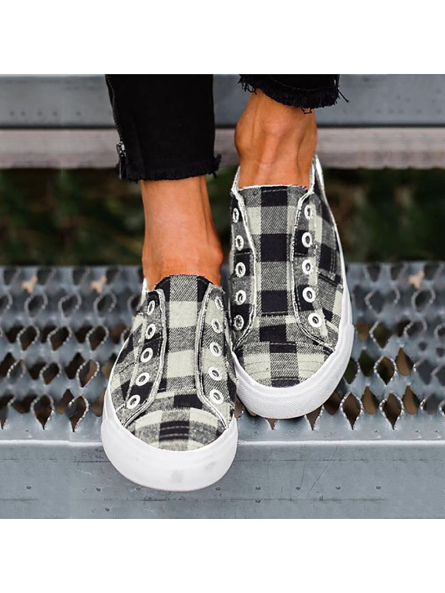 BerryLook Casual Women Plaid Breathable Comnfortable Sneakers