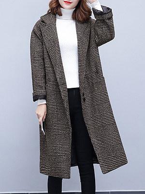 Ladies Temperament Retro Check Lapel Collar Loose Overcoat