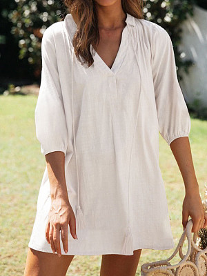 Solid Color V-neck Short-sleeved Casual Cotton And Linen Dress