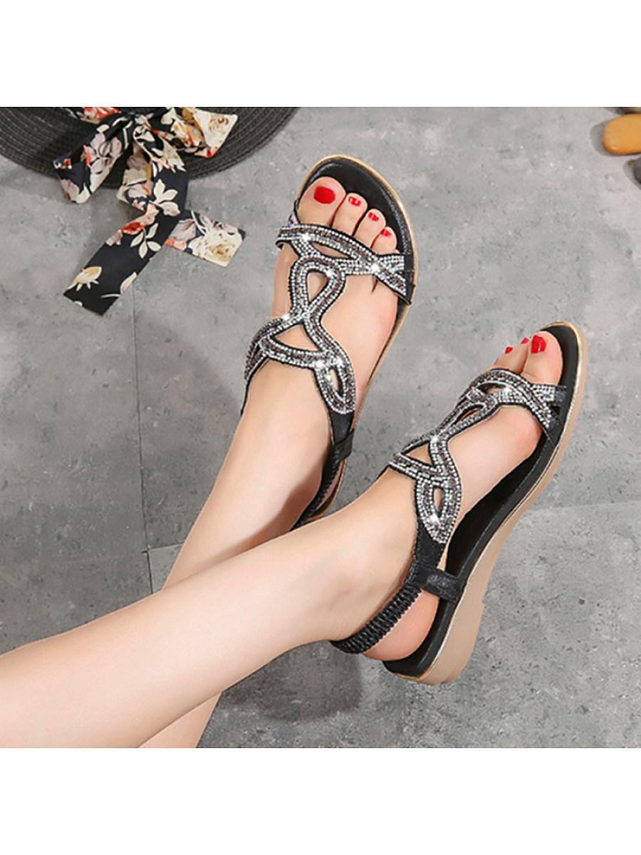 BerryLook Women Rhinestone Comfortable Wedge Sandals