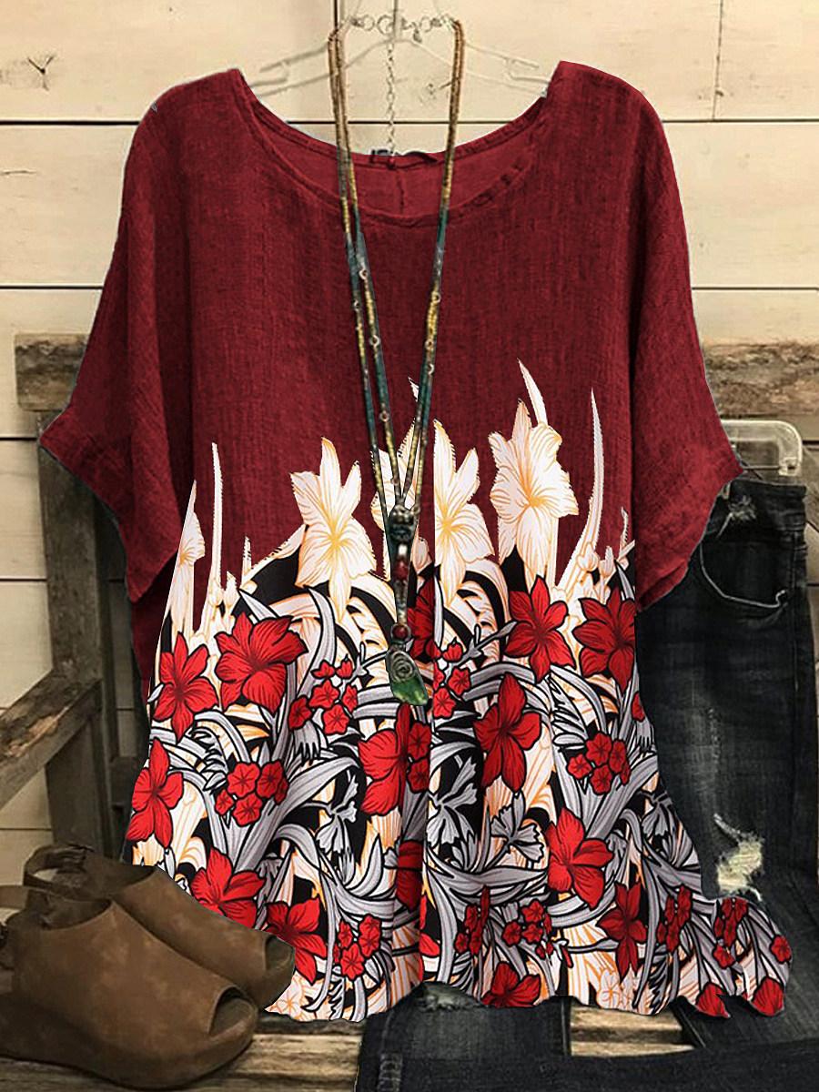 BerryLook Round Neck Floral Print Short Sleeve T-shirt