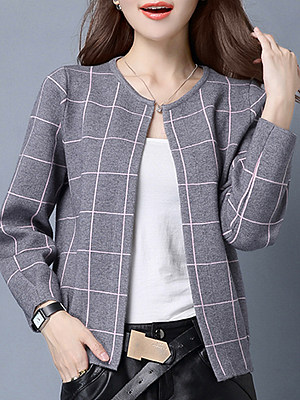 Round Neck Cute Plaid Long Sleeve Knit Cardigan, 10160117
