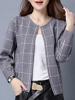 Round Neck Cute Plaid Long Sleeve Knit Cardigan