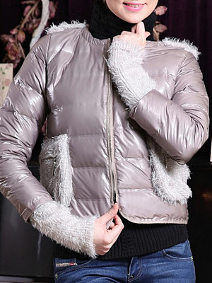 Women's fashion bright gray stitching down coat gender:female, colour:gray, season:autumn,winter,spring, texture:polyester, sleeve_length:long sleeve, style:japanese and korean style, dress_occasion:daily, bust:100,clothing length:57,shoulder width:38,