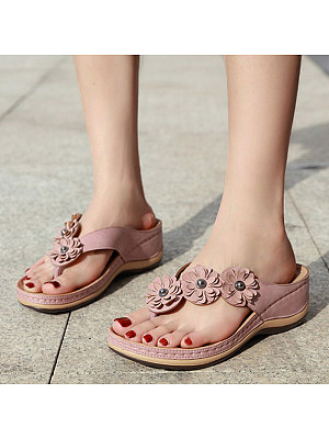BERRYLOOK / Vintage flowers comfortable round head casual women sandals