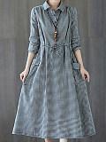 Image of Plaid Lapel Long Sleeve Dress