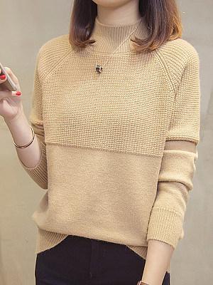 Short High Collar Elegant Plain Long Sleeve Knit Pullover, 10390988