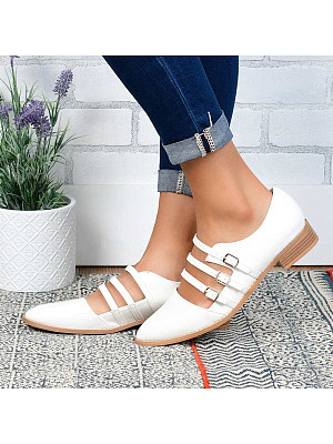 Fashion Three-row Belt Buckle Solid Color Flats, 11017092